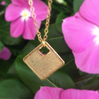 BEACH Jewelry, hawaiian jewelry, real sand from kailua beach, sand pendant, gold chain, square pendant