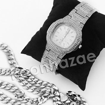 HIPHOP ICED OUT RAONHAZAE SILVER LAB DIAMOND WATCH MIAMI CUBAN CHAIN SX6