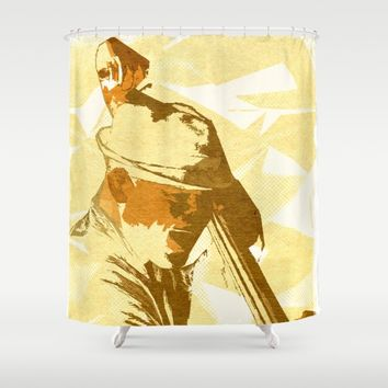 Jazz Contrabassist Poster Shower Curtain by Cinema4design | Society6