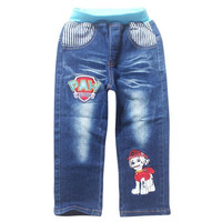 2016 New Style Kids Boy Jeans Elastic cartoon paw dog patrol jeans boys pants fit for spring baby boys jeans children trousers