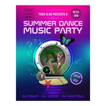 Club Summer Dance Music Party add logo and photo Flyer