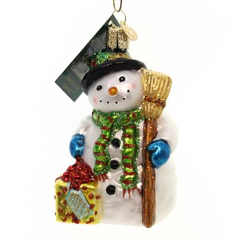 Old World Christmas Gleeful Snowman Glass Ornament