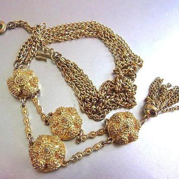 LISNER Long Gold Tone Tassel Necklace, Etruscan Style Disks, Double Chain, Vintage