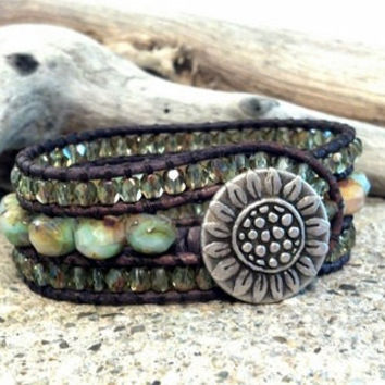 Beaded Leather Cuff Bracelet, Pastel Picasso Cuff, Leather Wrap Bracelet, Sunflower Button, Chan Luu Inspired, PZW055