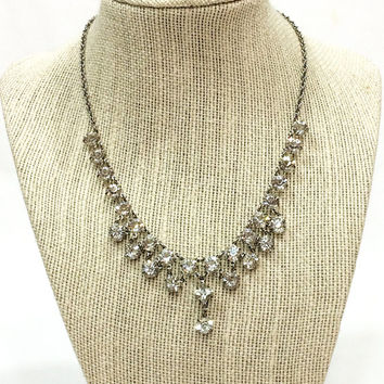 Art Deco Crystal Necklace, Rock Crystal Dangle Necklace, Rhodium Silver, 1940s 1950s, , Wedding Special Occasion Jewelry, Vintage