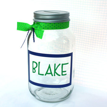 Personalized Canning Jar Bank with framed name and ribbon - coin slot lid - quart sized