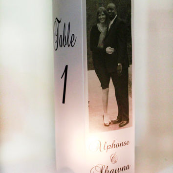 Personalized square Luminary, Table Numbers, Memorial Luminary, Wedding Decor, Custom luminaries, personalized table decor, Set of 10