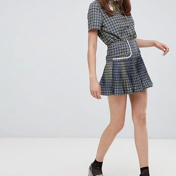 Sister Jane mini skirt in check two-piece at asos.com