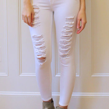 Taylor Mid Rise Distressed Ankle Skinny Jeans - White
