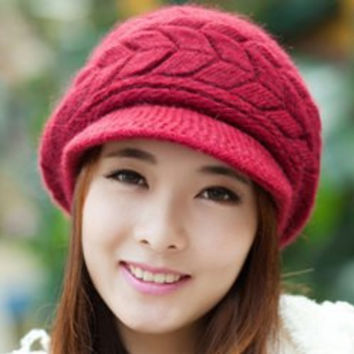 Red Knitted Beret Hat