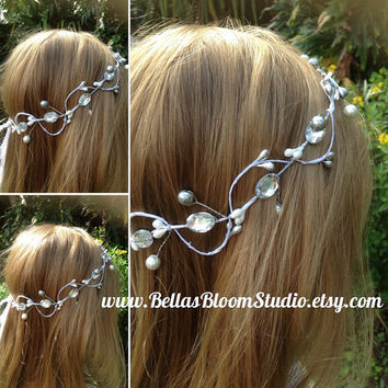 Pearl hair crown, pearl headpiece,Pearl Head Wreath,Wedding Halo,Flower Girl Crown,bridal headband pearl,Pearl hair vine,silver crown etsy
