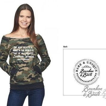 Southern Woman Imprinted Raglan Camo Top Apparel