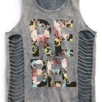 Girl's Vintage Havana 'Floral Rebel' Cutout Side Tank Top