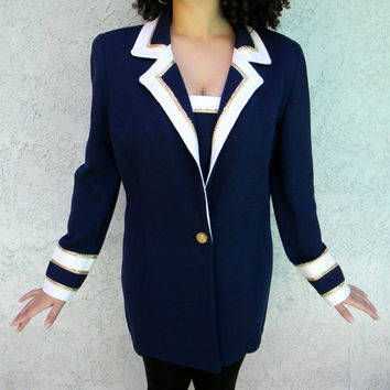 Vintage St John Knit Nautical Blazer, St John Evening by Marie Gray Suit Coat Jacket in Navy Blue, White, and Gold - Size 16, XL Plus Size