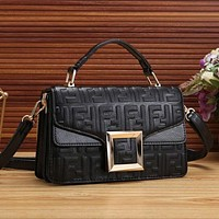 FENDI Women New Fashion More Letter Leather Crossbody Personality Handbag Shoulder Bag Satchel