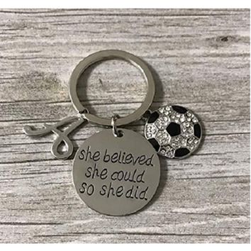 Personalized Soccer She Did Keychain- Letter Charm