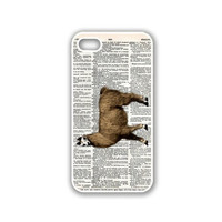 Llama On Dictionary Retro Vintage Zoology iPhone 5 White Case - For iPhone 5/5G White Designer Plastic Snap On Case