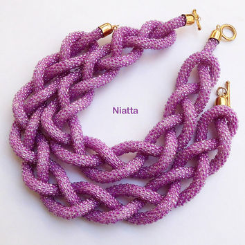 crochet gift for her beaded necklace jewelry long necklace lariat rope pink necklace beadwork rope necklace bead crochet egst Niatta