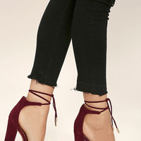 Angela Burgundy Suede Lace-Up Heels