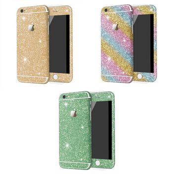 [3 Pack] Fashion Glitter Skin For iPhone 6/6S 4.7 inch Sticker Glitter Front Back Full Protective Film Decal for iPhone 6/6S Mobile Phone Accessory