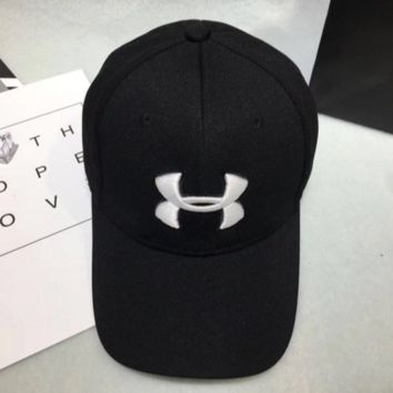 Under armour Women Men Contracted Sport Sunhat Logo Embroidery Baseball Cap Hat Black White Logo G