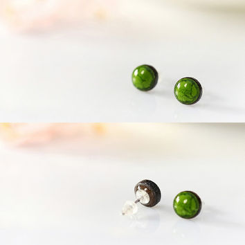 Ceramic jewelry ceramic stud earrings TINY / BIG clay jewelry Small green earrings handmade studs sterling silver post Cute studs porcelain
