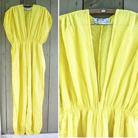 Vintage jumpsuit - yellow cotton gauze jump suit