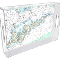 Fisher's Island Nautical Chart Lucite Tray