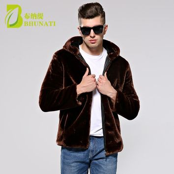 BHUNATI Winter Men Coat Faux Mink Fur Coats With Hood Thick Warm Long Sleeve Solid Fur Overcoat Fashion Fur Outerwear jackets