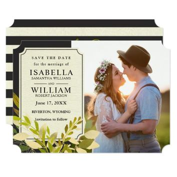 Rustic Vintage Black Stripes Fabric Save the Date Card