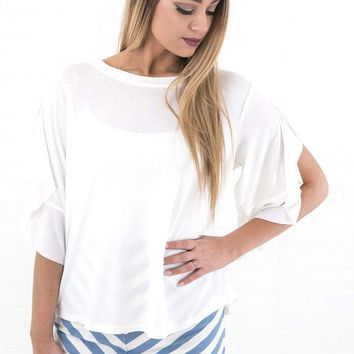 Women's Round Neck Tee with High Low Hem and Ruffled Short Sleeves