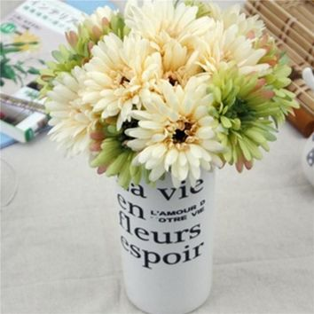 New 7pcs Bunch Lots Artificial Flowers Silk Flowers Artificial Gerberas Flowers for Home Decoration Wedding Bouquets