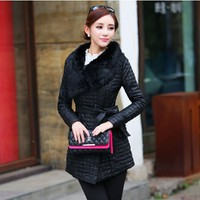 Women : Korean PU Leather Coat with Fur Collar YRB0576