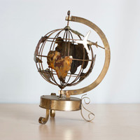 Vintage Spinning Metal World Globe Music Box, Copper Brass Industrial Style Globe with Airplane. Gold Tone Decor