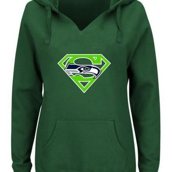 Women's Winter Seahawks Fans Hoodies New Design Seattle Sweatshirts Superman S Logo Picture Print Fashion Tops V-neck Pullover