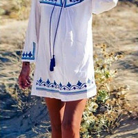 White Printed Dress With Tie Front