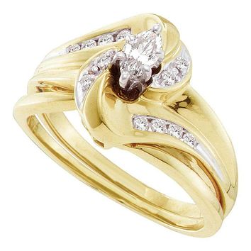 10kt Yellow Gold Women's Marquise Diamond Bridal Wedding Engagement Ring Band Set 1/4 Cttw - FREE Shipping (US/CAN)