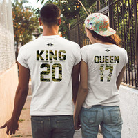 KING and QUEEN t-shirts, couples shirts, Anniversary gift ideas, couple shirts king queen camouflage shirts, st valentines gift