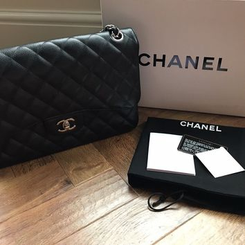 Black Chanel Classic Flap Bag Caviar Leather With Silver Hardware Jumbo Size