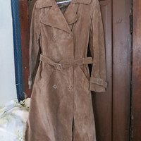 vintage genuine  pig skin leather  1970's long leather  trench  coat by Debenhams   sz 12  new condition