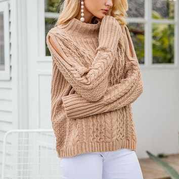 Knitted Cold Shoulder Pullover Sweater