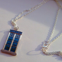 Police Box Dr Who inspired Pendant -Dr Who Tardis Pendant-Geek Jewellery-Blue Box Necklace-