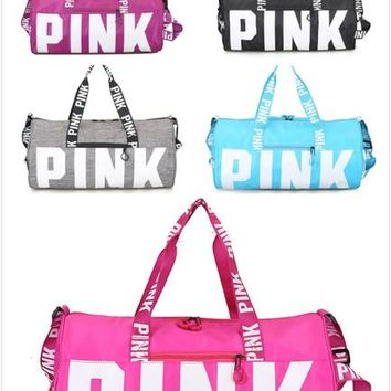 VS Pink Handbags Pink Letter Travel Bag VS Beach Handbag Duffle be7d5dd702