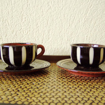 Vintage coffee cups, ceramic coffee cups, chocolate brown, terracotta cups with white stripes, vintage espresso cups, set of two coffee cups