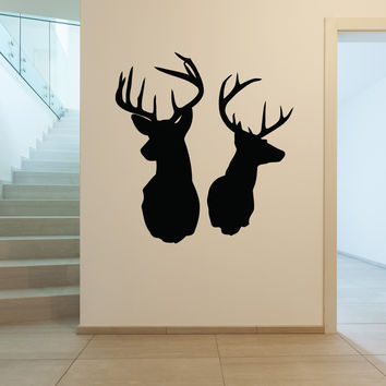 Deer heads hunting wall decal silhouette