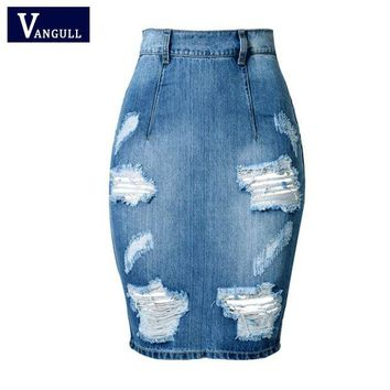 LMF78W Hole Design Back Split Slim Bandage Skirts 2017 Fashion High Waist Vintage Skinny Mini Bodycon Pencil Women Denim Jeans Skirt