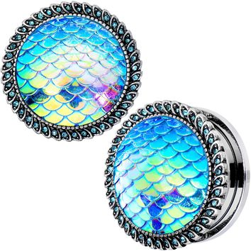 "7/8"" Aqua Gem Iridescent Blue Mermaid Scale Screw Fit Plug Set"