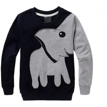 Elephant Printed Long Sleeve Children Sweater Boy Girl Pullover Top Shirts Sweatshirt Clothing