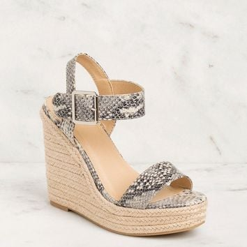 In Your Dreams Snakeskin Wedges