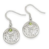 Sterling Silver & Peridot Round Polished Dangle Earrings
